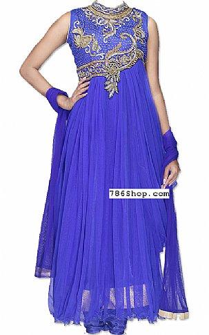 Royal Blue Net Suit | Pakistani Dresses in USA