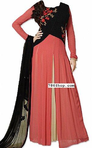 Peach/Black Chiffon Suit | Pakistani Dresses in USA