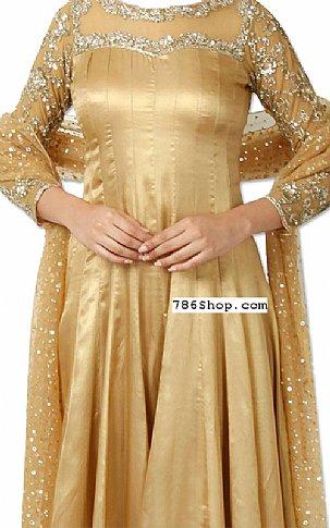Golden Silk Suit | Pakistani Dresses in USA
