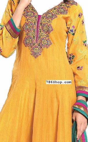Gold Yellow Georgette Suit   Pakistani Dresses in USA