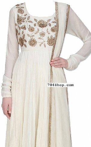 Off-white Chiffon Suit | Pakistani Dresses in USA