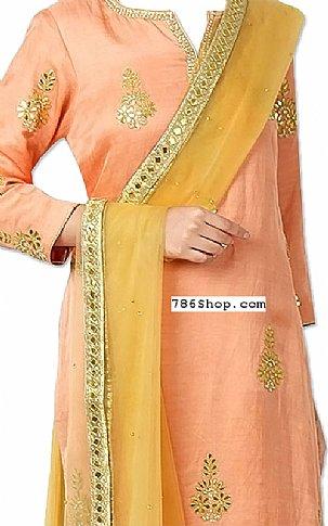 Peach/Mustard Silk Suit | Pakistani Dresses in USA