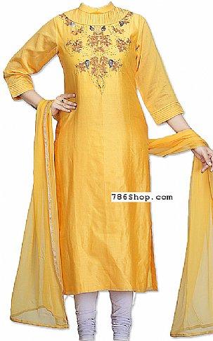 Yellow Silk Suit   Pakistani Dresses in USA