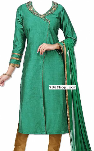 Teal Green Silk Suit | Pakistani Dresses in USA