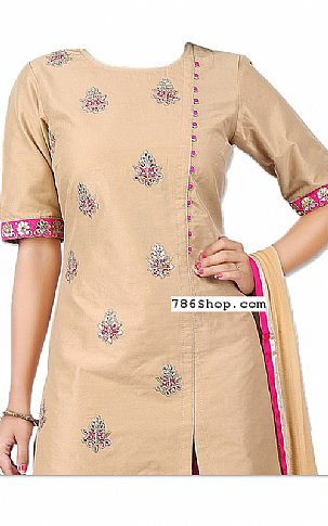 Beige/Pink Silk Suit   Pakistani Dresses in USA
