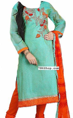 Turquoise Silk Suit | Pakistani Dresses in USA