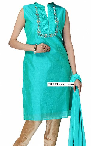 Turquoise Silk Suit | Pakistani Dresses in USA