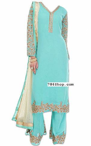 Turquoise Chiffon Suit | Pakistani Dresses in USA