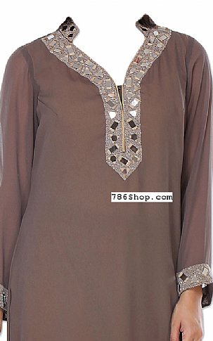 Brown Chiffon Suit | Pakistani Dresses in USA