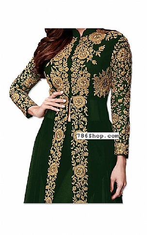 Bottle Green Chiffon Suit | Pakistani Dresses in USA