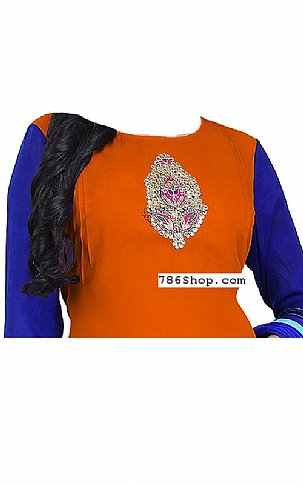 Rust/Blue Georgette Suit | Pakistani Dresses in USA