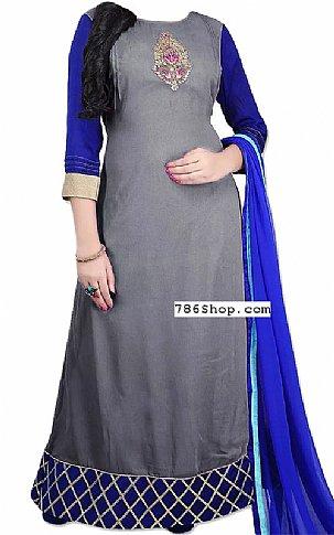 Grey/Blue Georgette Suit | Pakistani Dresses in USA