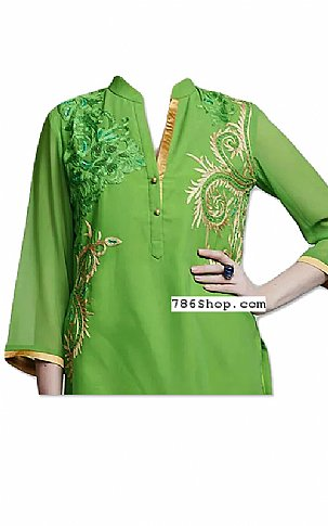 Parrot Green Georgette Suit | Pakistani Dresses in USA