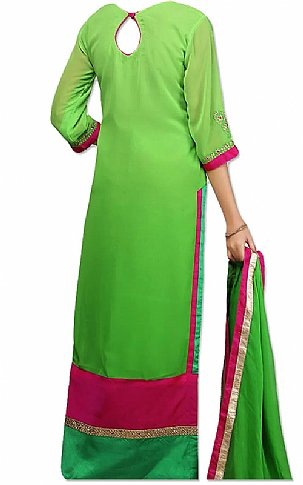 Parrot Green Chiffon Suit | Pakistani Dresses in USA