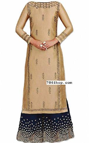 Golden/Blue Silk Suit   Pakistani Dresses in USA