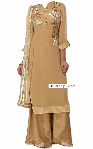 Golden Chiffon Suit | Pakistani Dresses in USA