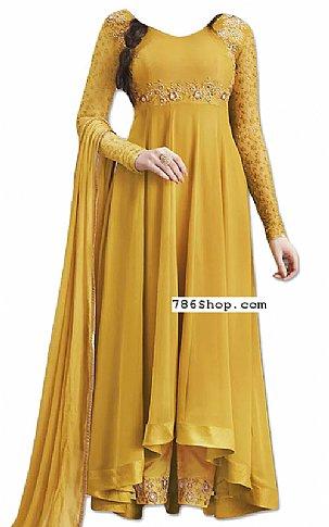 Mustard Chiffon Suit | Pakistani Dresses in USA
