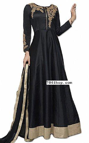 Black Raw Silk Suit | Pakistani Dresses in USA