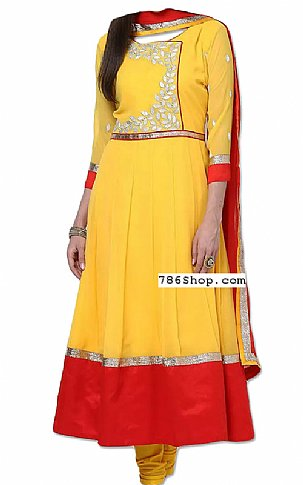 Yellow Georgette Suit | Pakistani Dresses in USA
