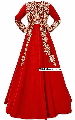 Coral Raw Silk Suit | Pakistani Dresses in USA