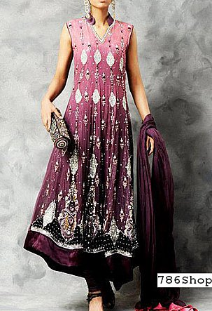 Mauve Crinkle Chiffon Suit | Pakistani Party and Designer Dresses in USA