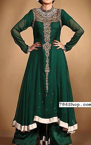 Bottle Green Crinkle Chiffon Suit   Pakistani Party and Designer Dresses in USA