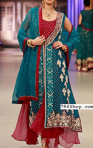 Teal Blue/Red Crinkle Chiffon Suit | Pakistani Party and Designer Dresses in USA