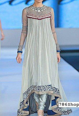 Sky Blue Crinkle Chiffon Suit   Pakistani Party and Designer Dresses