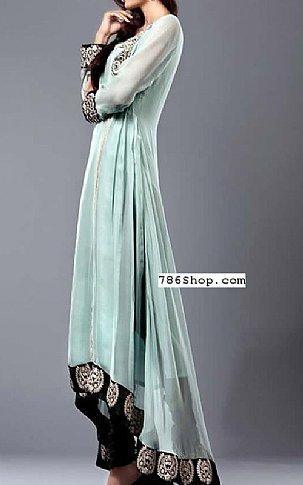 Light Sea Green Crinkle Chiffon Suit   Pakistani Party and Designer Dresses in USA