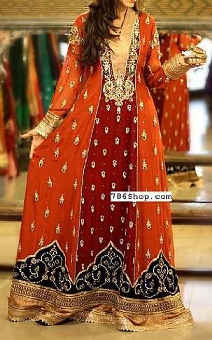 Rust/Maroon Chiffon Suit | Pakistani Party and Designer Dresses in USA