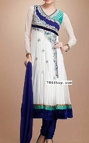 White/Blue Crinkle Chiffon Suit | Pakistani Party and Designer Dresses