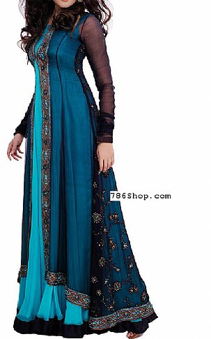 Blue/Turquoise Crinkle Chiffon Suit | Pakistani Party and Designer Dresses