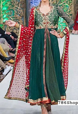 Teal Crinkle Chiffon Suit | Pakistani Party and Designer Dresses in USA