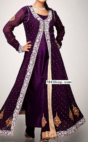 380d890274 Indigo Crinkle Chiffon Suit | Buy Pakistani Indian Dresses | 786Shop.com