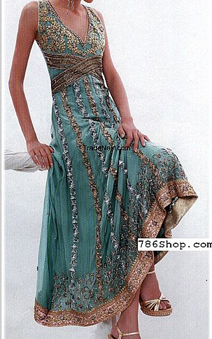 Sea Green Crinkle Chiffon Suit | Pakistani Party and Designer Dresses in USA