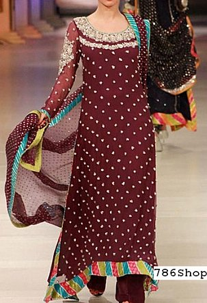 2eb13ebfc7 Maroon Jamawar Chiffon Suit | Buy Pakistani Indian Dresses | 786Shop.com
