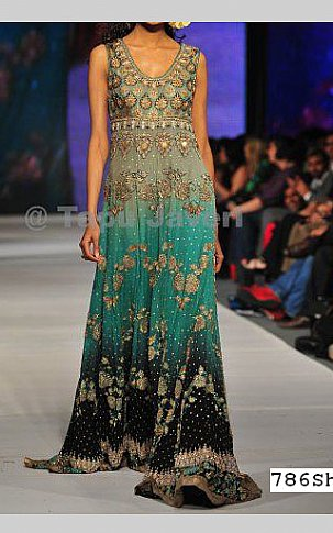 Sea Green/Black Crinkle Chiffon Suit   Pakistani Party and Designer Dresses in USA
