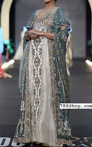Grey/Off-white Crinkle Chiffon Suit | Pakistani Party and Designer Dresses in USA