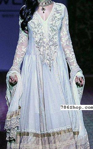 Light Blue Crinkle Chiffon Suit | Pakistani Party and Designer Dresses