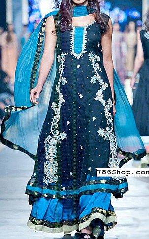 Blue/Turquoise Crinkle Chiffon Suit | Pakistani Wedding Dresses