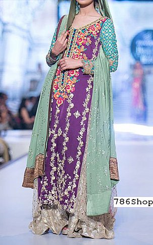 Indigo/Turquoise Chiffon Suit | Pakistani Wedding Dresses