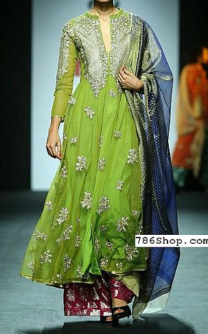 Parrot Green Chiffon Suit | Pakistani Party and Designer Dresses in USA