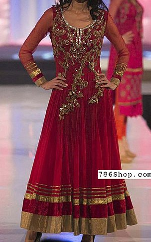 Maroon Crinkle Chiffon Suit. | Pakistani Party and Designer Dresses