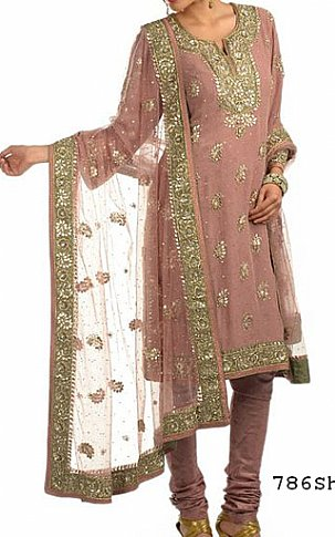 Tea Pink Chiffon Suit.   Pakistani Party and Designer Dresses in USA