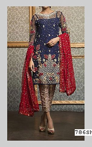 Navy Blue Crinkle Chiffon Suit | Pakistani Party and Designer Dresses