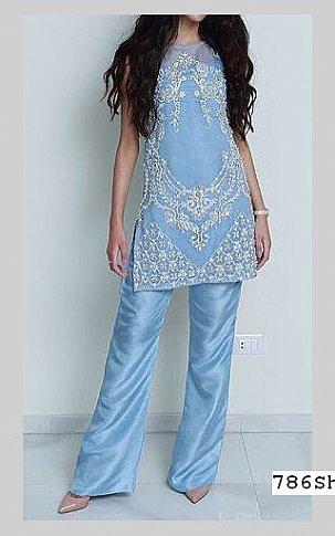 Sky Blue Crinkle Chiffon Suit | Pakistani Party and Designer Dresses