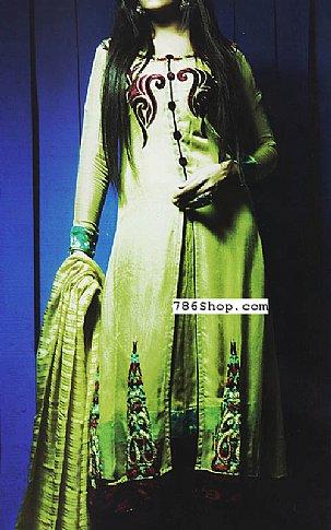 Parrot Green Crinkle Chiffon Suit | Pakistani Party and Designer Dresses