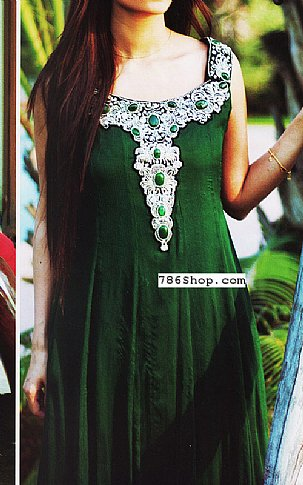 Bottle Green Crinkle Chiffon Suit | Pakistani Party and Designer Dresses in USA