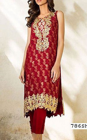 Red Jamawar Chiffon Suit | Pakistani Party and Designer Dresses in USA