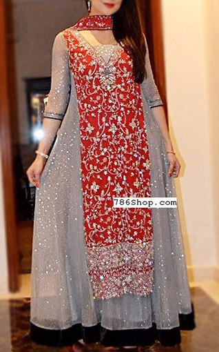 Red/Grey Crinkle Chiffon Suit | Pakistani Party and Designer Dresses in USA